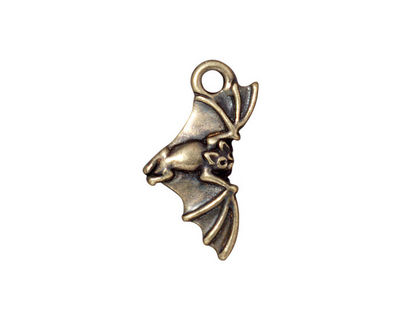 TierraCast Antique Brass (plated) Bat Charm 12x23mm
