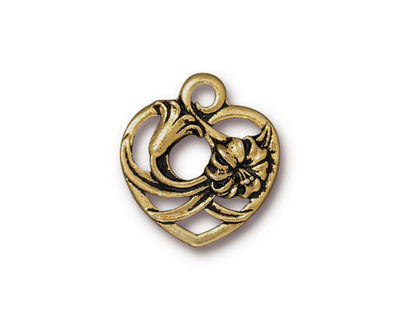 TierraCast Antique Gold (plated) Floral Heart Charm 18x20mm