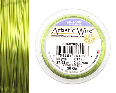 Artistic Wire Silver Plated Chartreuse 26 gauge, 30 yards