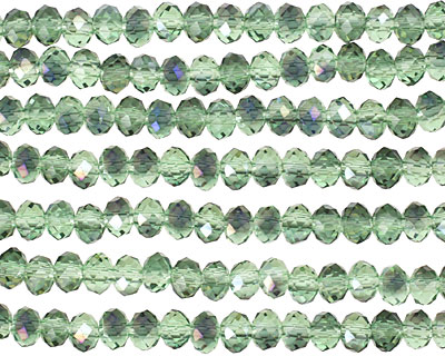 Peridot & Purple AB Crystal Faceted Rondelle 4mm