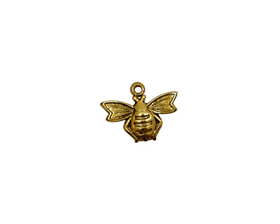 Stampt Antique Gold (plated) Flying Bee Charm 13x10mm