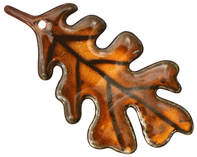 C-Koop Enameled Metal Rust Orange Large Oak Leaf 33x63mm
