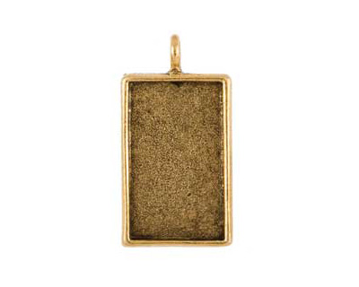 Nunn Design Antique Gold (plated) Large Rectangle Bezel Pendant 22x42mm