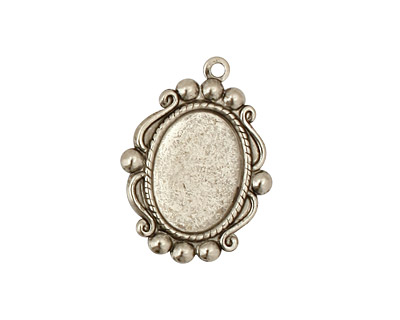 Stampt Antique Pewter (plated) Looking Glass Oval Setting 10x14mm