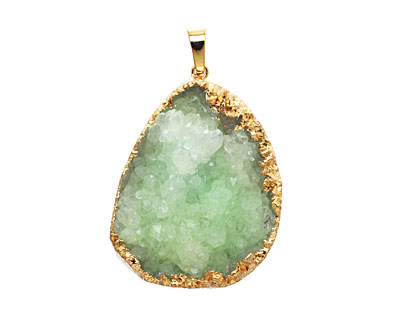Apple Green Druzy Pendant set in Gold (plated) 25-35x45-55mm