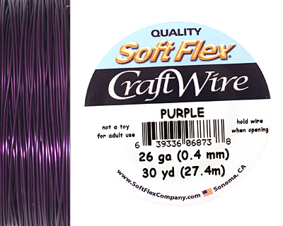 Soft Flex Purple Craft Wire 26 gauge, 30 yards