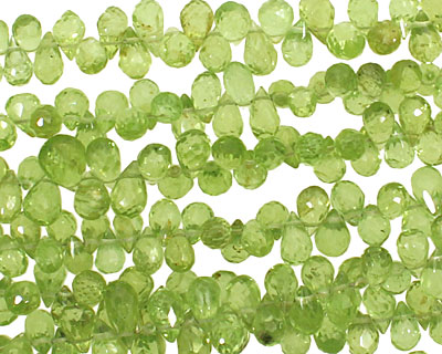 Peridot Faceted Briolette 4x6mm