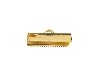 Goldtone (plated) Ribbon Crimp End 20mm