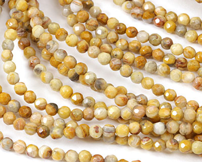 Crazy Lace Agate (yellow) Faceted Round 4mm