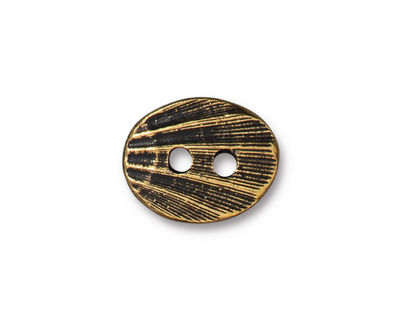 TierraCast Antique Gold (plated) Oval Shell Button 12x13mm