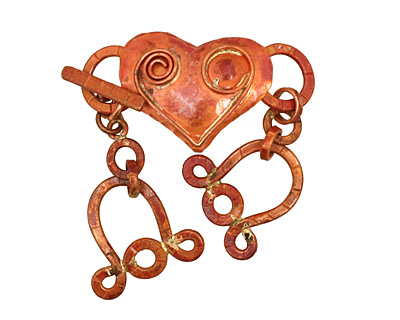 Patricia Healey Copper 3 Strand Spiral Heart Toggle Clasp 125x26mm, 22mm bar