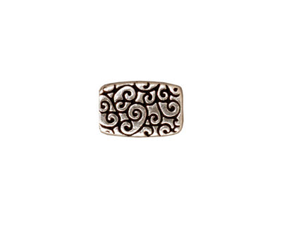 TierraCast Antique Silver (plated) Rectangle Scroll Bead 14x9mm