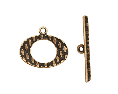 Antique Brass (plated) Textured Oval Toggle Clasp 16x19mm, 27mm bar