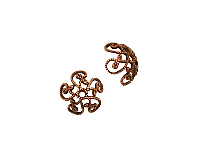 Stampt Antique Copper (plated) Fancy Swirl Bead Cap 10x4mm