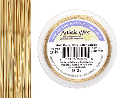 Artistic Wire Silver Plated Gold 26 gauge, 30 yards