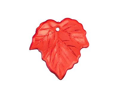 Lucite Transparent Scarlet Small Ivy Leaf 24x25mm