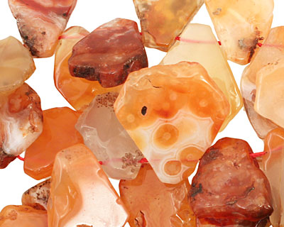 Carnelian (natural) Flat Freeform Drop 14-24x20-35mm
