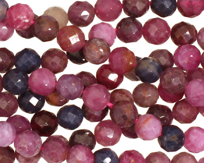 Multi Stone (Ruby & Sapphire) Faceted Round 6mm
