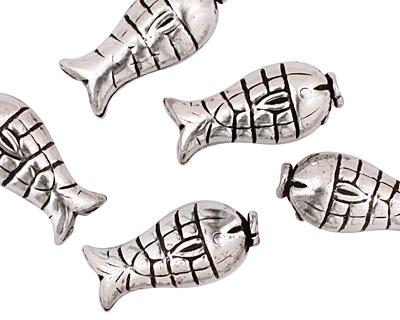 Antique Silver (plated) Fish 20x9mm