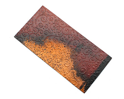 Lillypilly Rojo Y Negro Scrolling Vine Embossed Patina Copper Sheet 3
