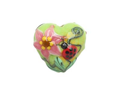 Grace Lampwork Ladybug on Spring Green Heart 19-20mm