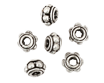 Antique Silver (plated) Beaded Rondelle 6x10mm