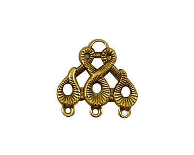 Stampt Antique Gold (plated) Scrolling 3 Ring Connector 20x19mm