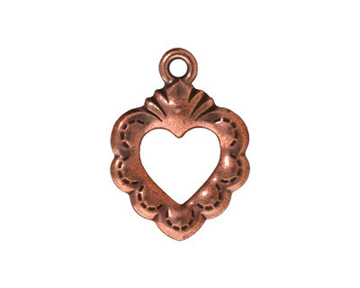 TierraCast Antique Copper (plated) Sacred Heart Ring 19x25mm