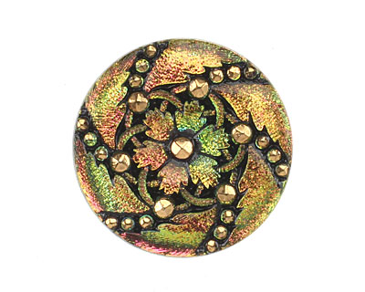 Czech Glass Pink & Green w/ Gold Daisy Spiral Button 31mm