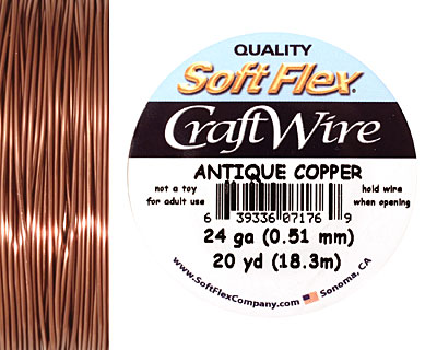 Soft Flex Non-Tarnish Antique Copper Craft Wire 24 gauge, 20 yards