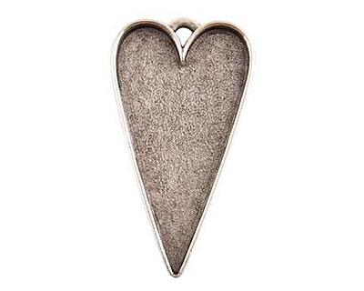 Nunn Design Antique Silver (plated) Grande Heart Bezel Pendant 54x29mm