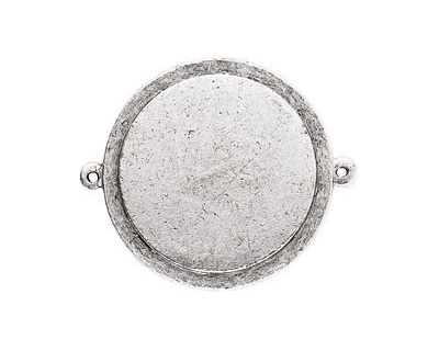 Nunn Design Antique Silver (plated) Raised Tag Grande Circle Link 44x37mm