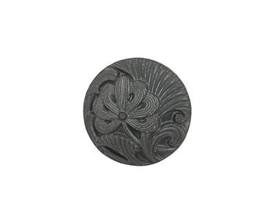 Czech Glass Matte Black Single Flower Button 18mm