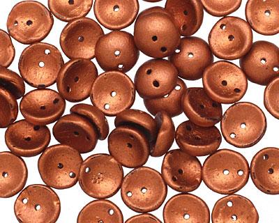 Czech Glass Matte Copper 2-Hole Piggy Bead 8mm