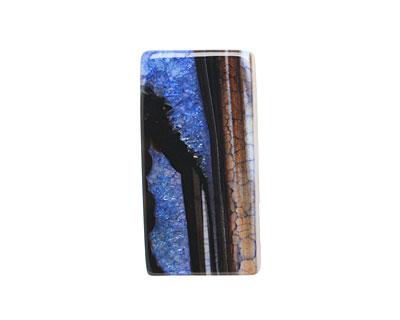 Black & Blue Agate Rectangle Pendant 42-45x22-24mm