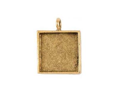 Nunn Design Antique Gold (plated) Large Square Bezel Pendant 26x34mm