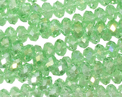 Peridot AB Crystal Faceted Rondelle 6mm