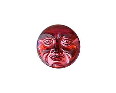 Czech Glass Fuchsia w/Copper Finish Moon Face Button 17mm