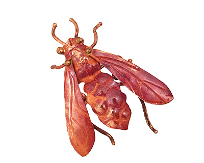 Patricia Healey Copper Fly Pendant 43x51mm