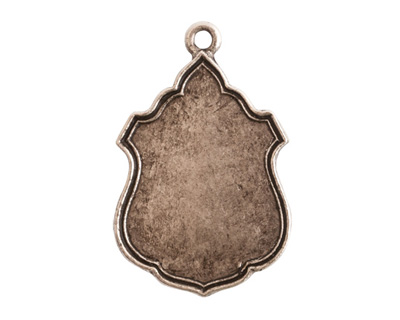 Nunn Design Antique Silver (plated) Ornate Flat Ensign Tag 20x31mm