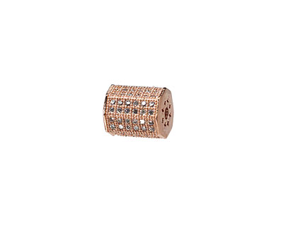 Rose Gold (plated) CZ Micro Pave Lantern 9x7mm