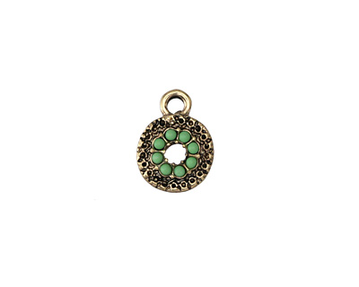 Zola Elements Antique Gold (plated) Beaded Leaf Green Textured Coin Charm 10x13mm