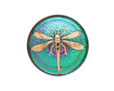 Czech Glass Pink & Green w/ Gold Dragonfly Button 31mm