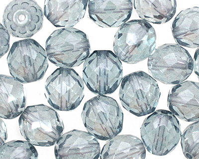 Czech Fire Polished Glass Luster Transparent Blue Round 10mm