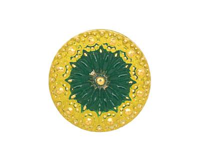 Czech Glass Lemon Lime Rosette Button 22mm