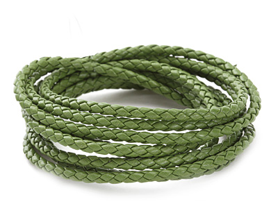 Leaf Green Faux Leather Bolo Cord 3mm