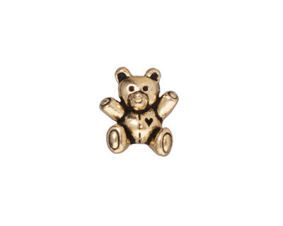 TierraCast Antique Gold (plated) Teddy Bear Bead 14x13mm