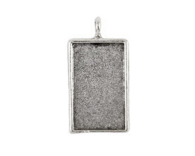 Nunn Design Antique Silver (plated) Large Rectangle Bezel Pendant 22x42mm