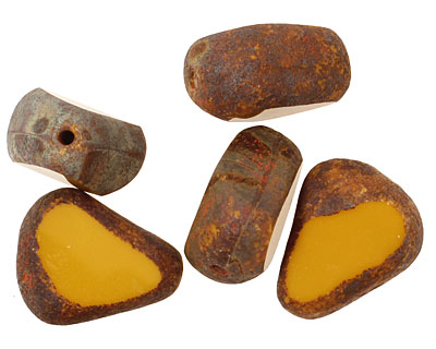 Czech Glass Goldenrod Stone Picasso Chunky Table Cut Nugget 19x16mm