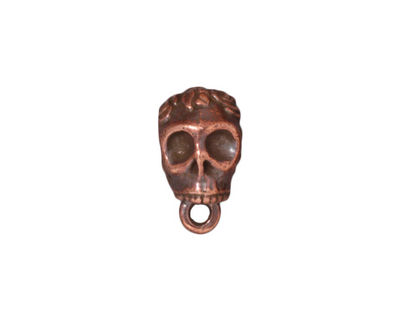TierraCast Antique Copper (plated) .25 ID Skull Bail 8x12mm